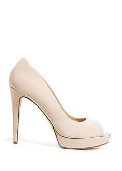 SUEDE EFFECT PEEP-TOE SHOES