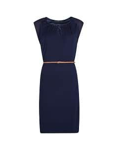 Contrast sleeve belted dress