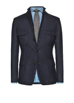 Multi-pocket wool-blend blazer