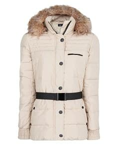Faux fur hood feather down coat