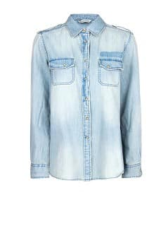Medium wash denim shirt