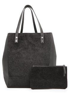 Faux fur panels shopper bag