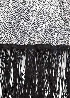 Animal print fringed scarf