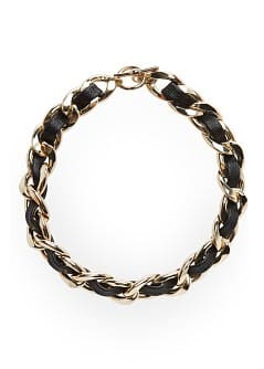 Chain link faux leather necklace