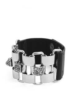 Faux leather combi cuff