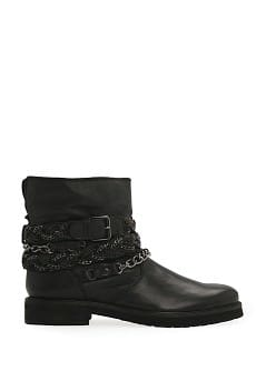 Wraparound strap leather ankle boots