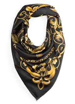 Chains print satin-finish scarf