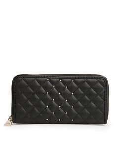 Studded quilted wallet