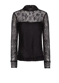 FUNNEL NECKLINE LACE T-SHIRT