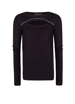 Studded Cut-Out Detail Sweater