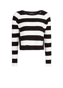 Contrast back striped sweater