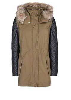 Leather sleeve convertible parka