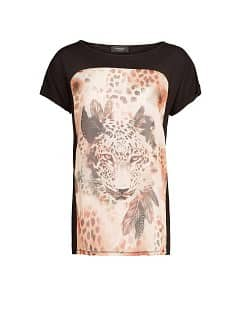 Printed chiffon panel t-shirt