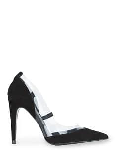 Suede and vinyl stiletto shoes