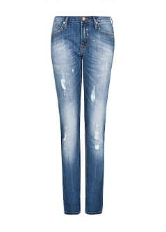 SLIM-FIT ENKELJEANS MET MEDIUM WASSING