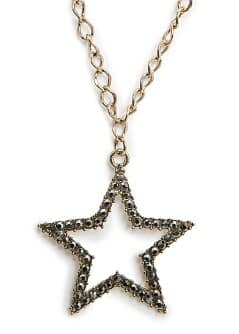 Strass star long necklace