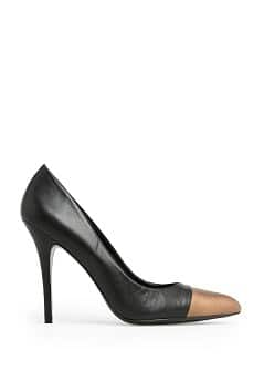 CONTRASTED TOE LEATHER STILETTO SHOES