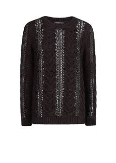 Metallic detail cable-knit sweater