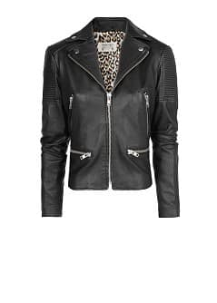 Studded flag leather jacket