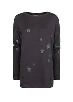 Star print cotton-blend sweater