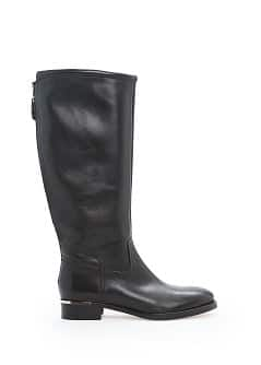 Metal appliqué leather knee boots