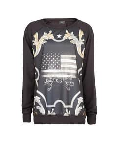 Flag baroque detail sweatshirt