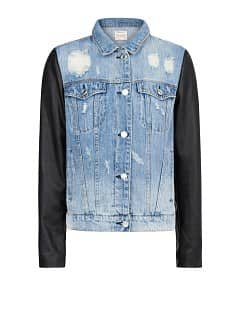 Contrast sleeve denim jacket