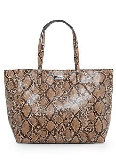 Faux snakeskin shopper bag
