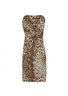 Leopard print strapless dress
