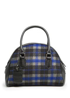 Checked leather tote bag