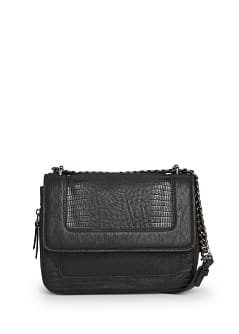 Faux crocodileskin shoulder bag