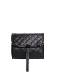 Metal tassel quilted clutch