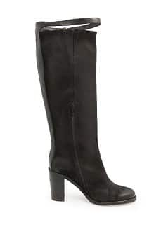 Coated leather knee boots