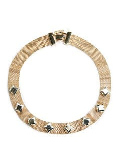 Faceted appliqués mesh choker