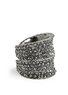 Wide metal crystal ring