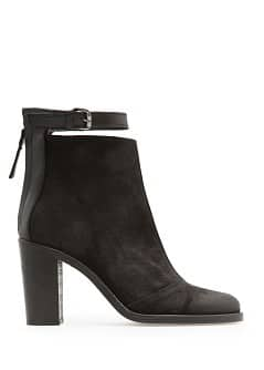 Coated suede ankle boots