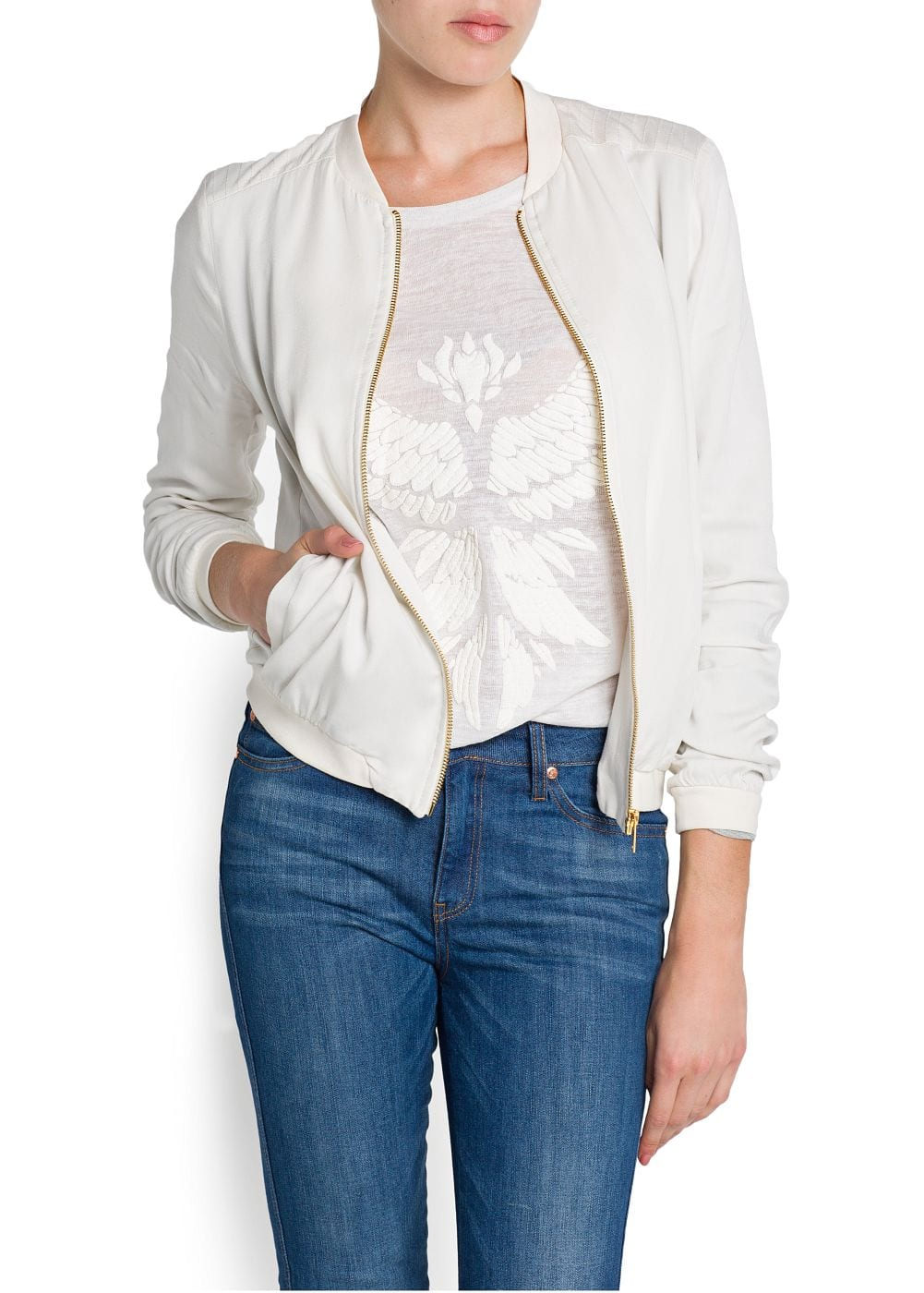 Decorative stitching bomber jacket