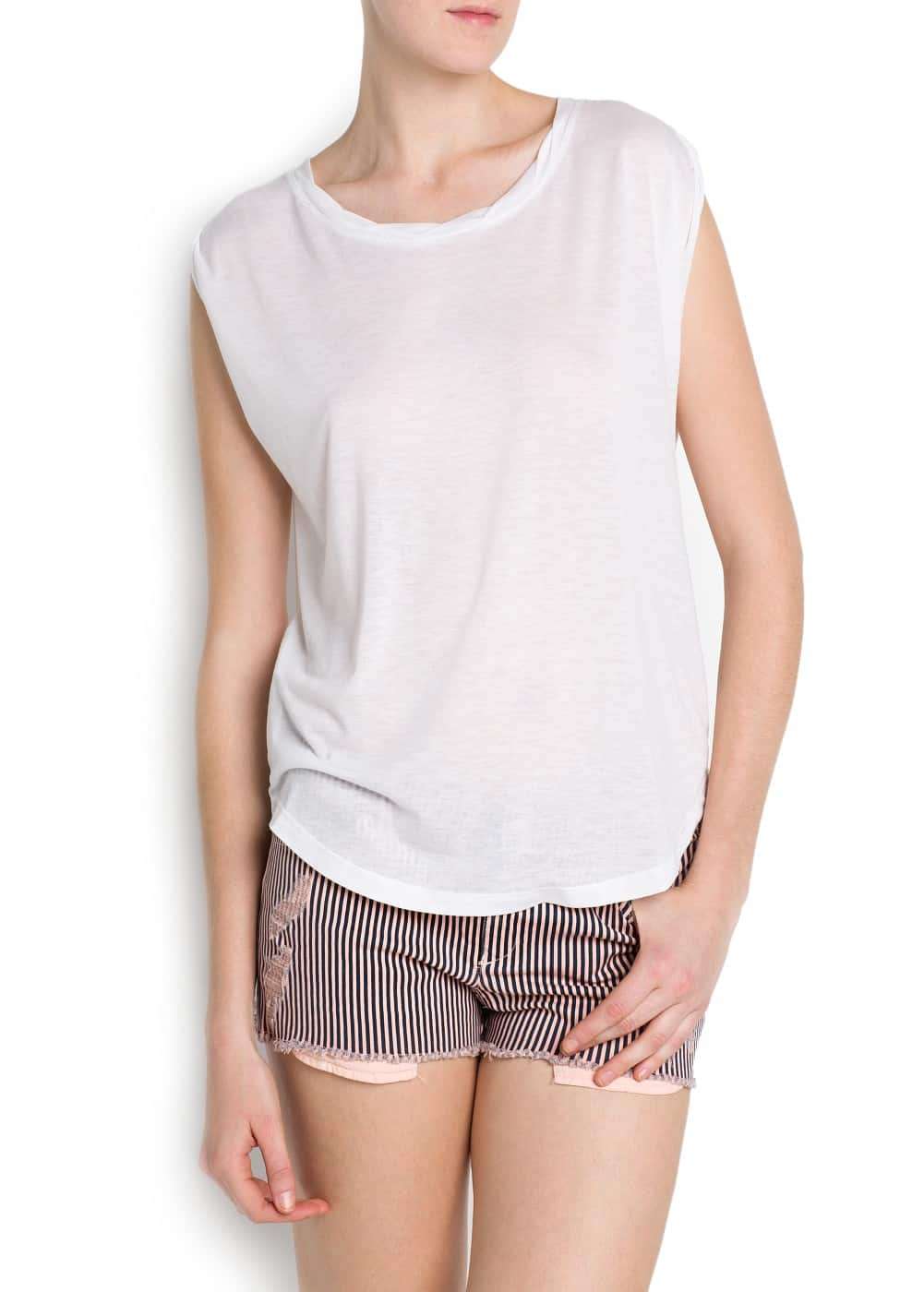 Lightweight fabric t-shirt | MANGO