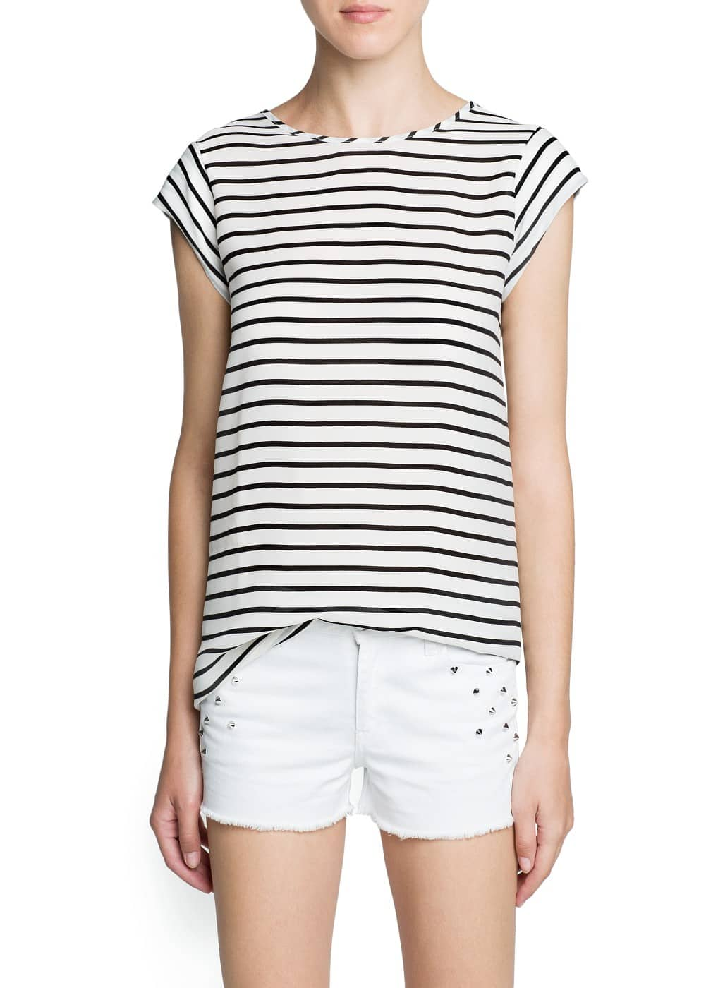 Striped chiffon panel t-shirt