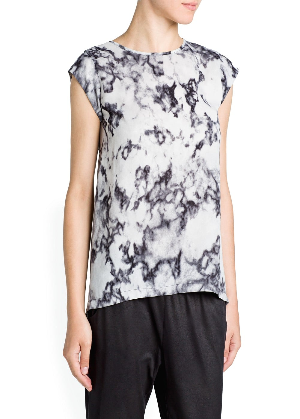 Marble print flowing t-shirt
