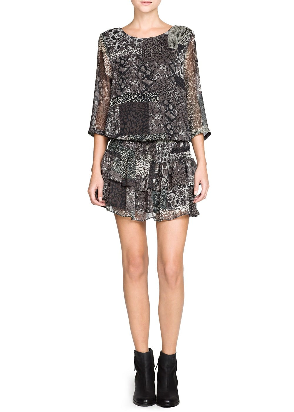 Snake print ruffled dress | MANGO