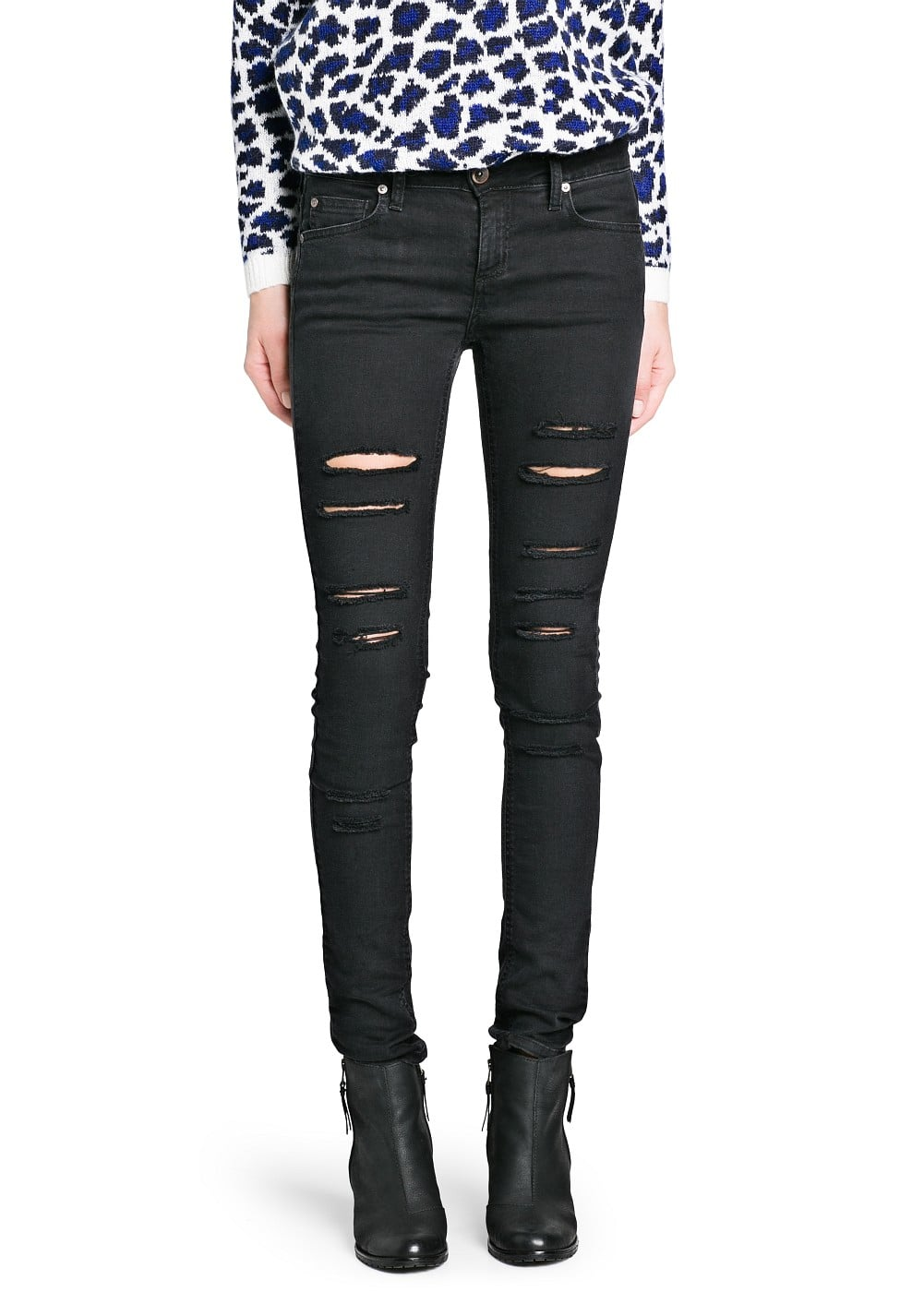 Super slim-fit ripped stony jeans | MANGO