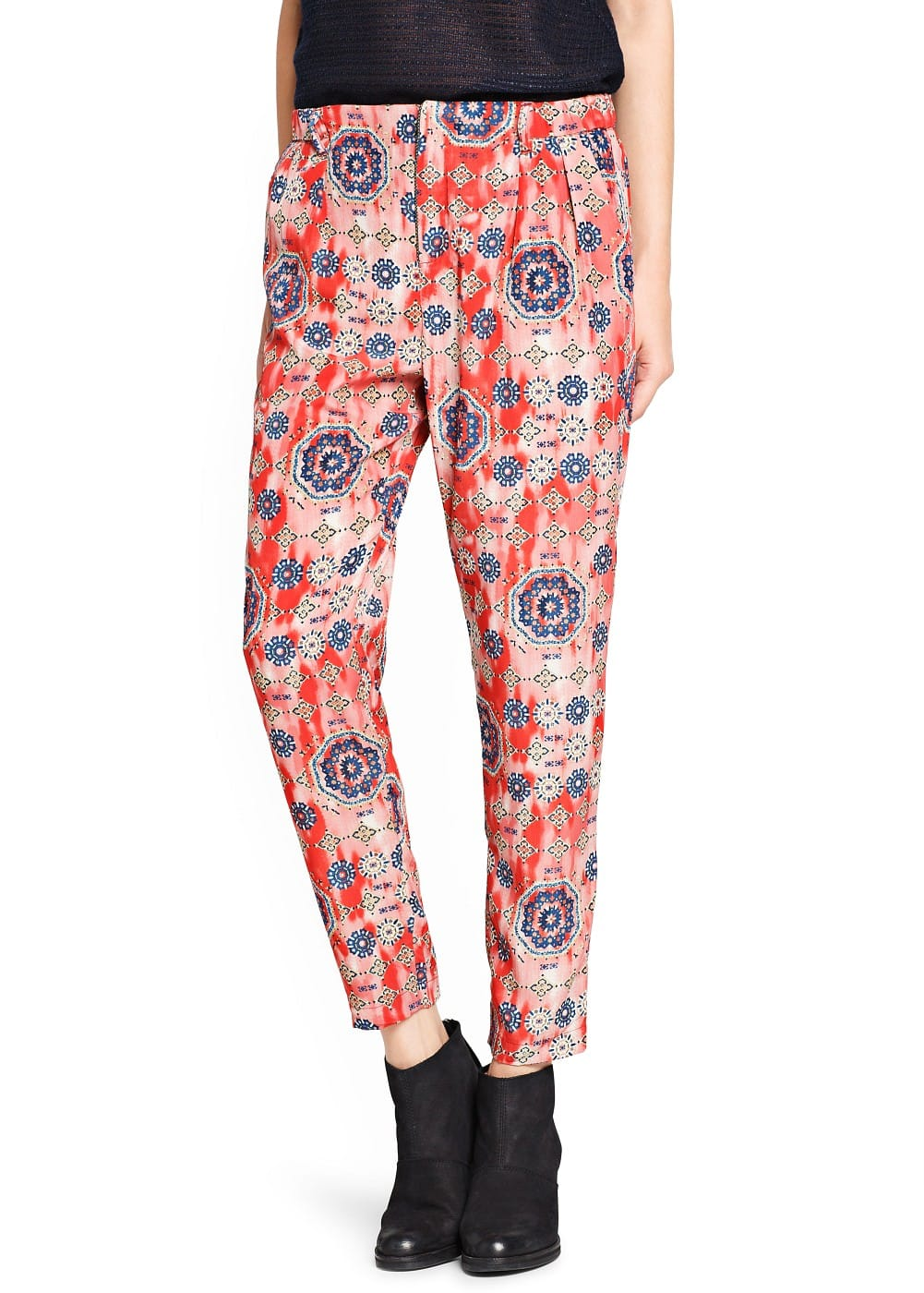 Loose-fit printed trousers | MANGO