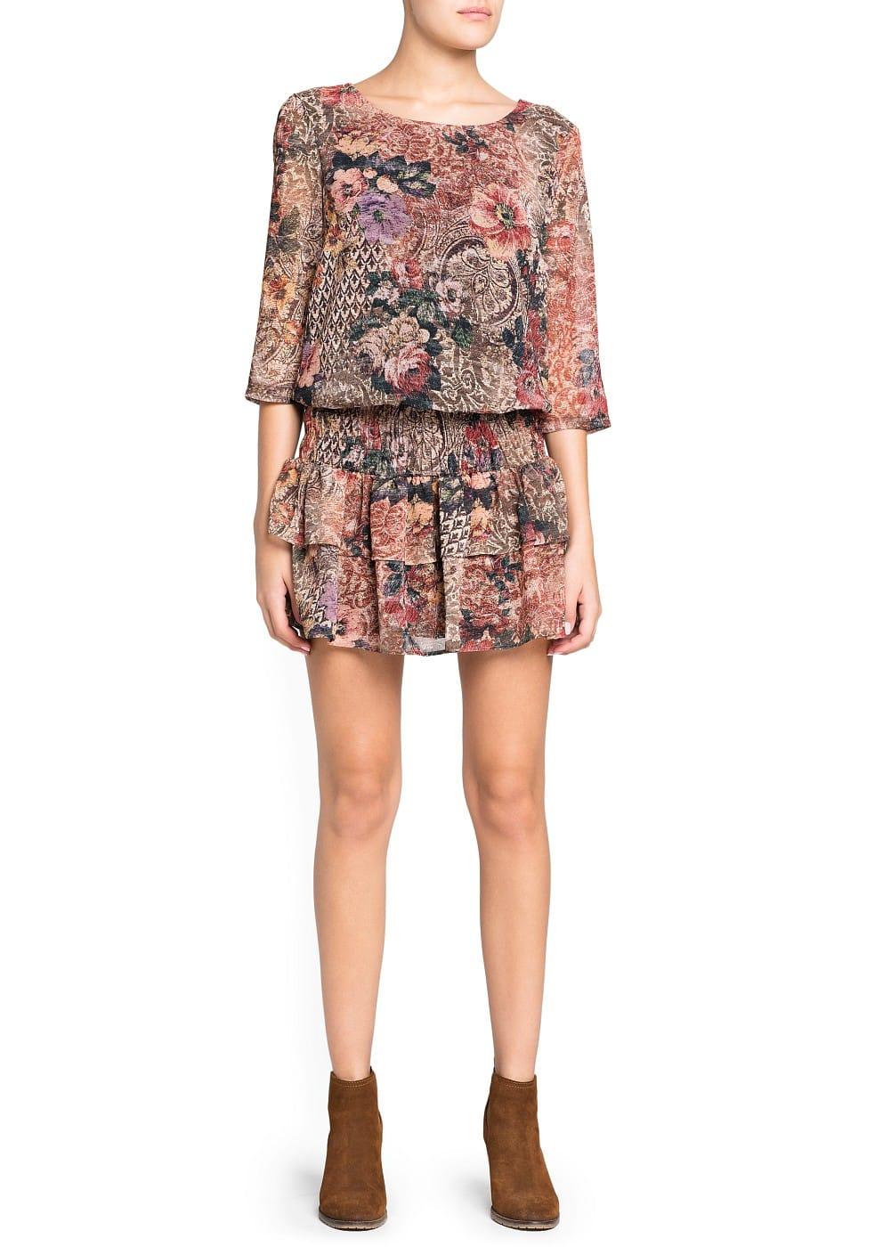 Ruffled tapestry print dress
