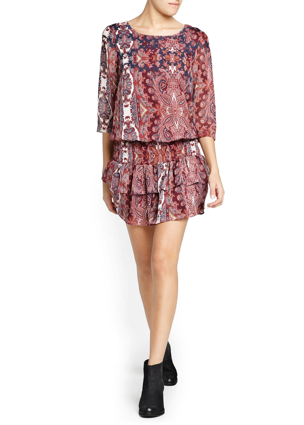 Paisley print ruffled dress | MANGO