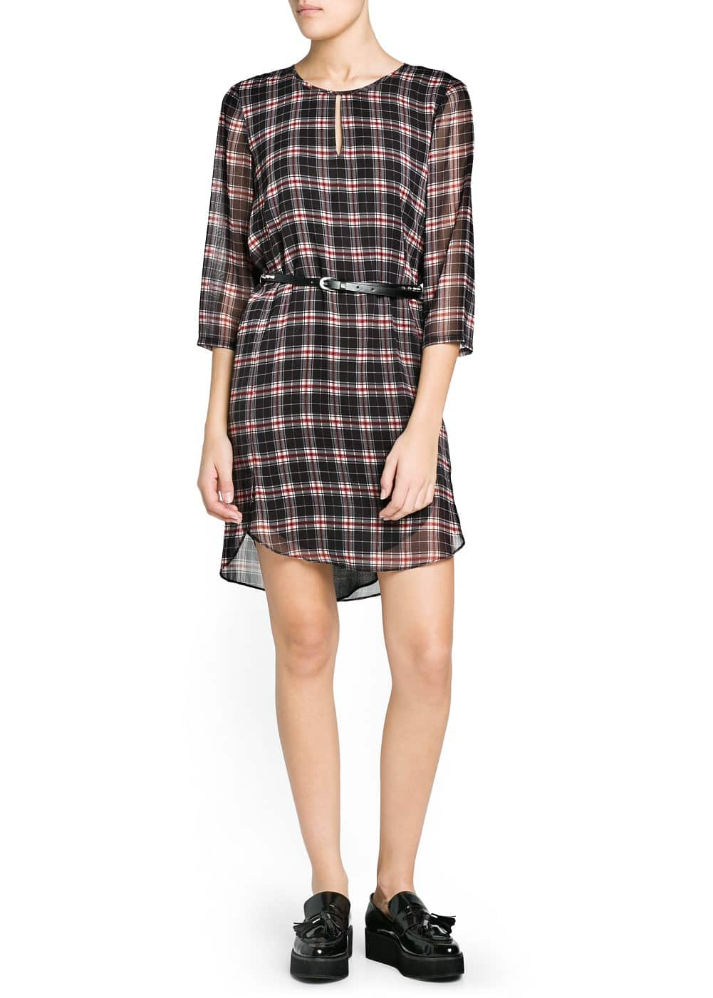 Studded belt check dress | MANGO