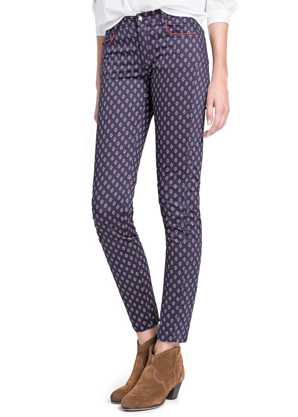 Slim-fit foulard print trousers