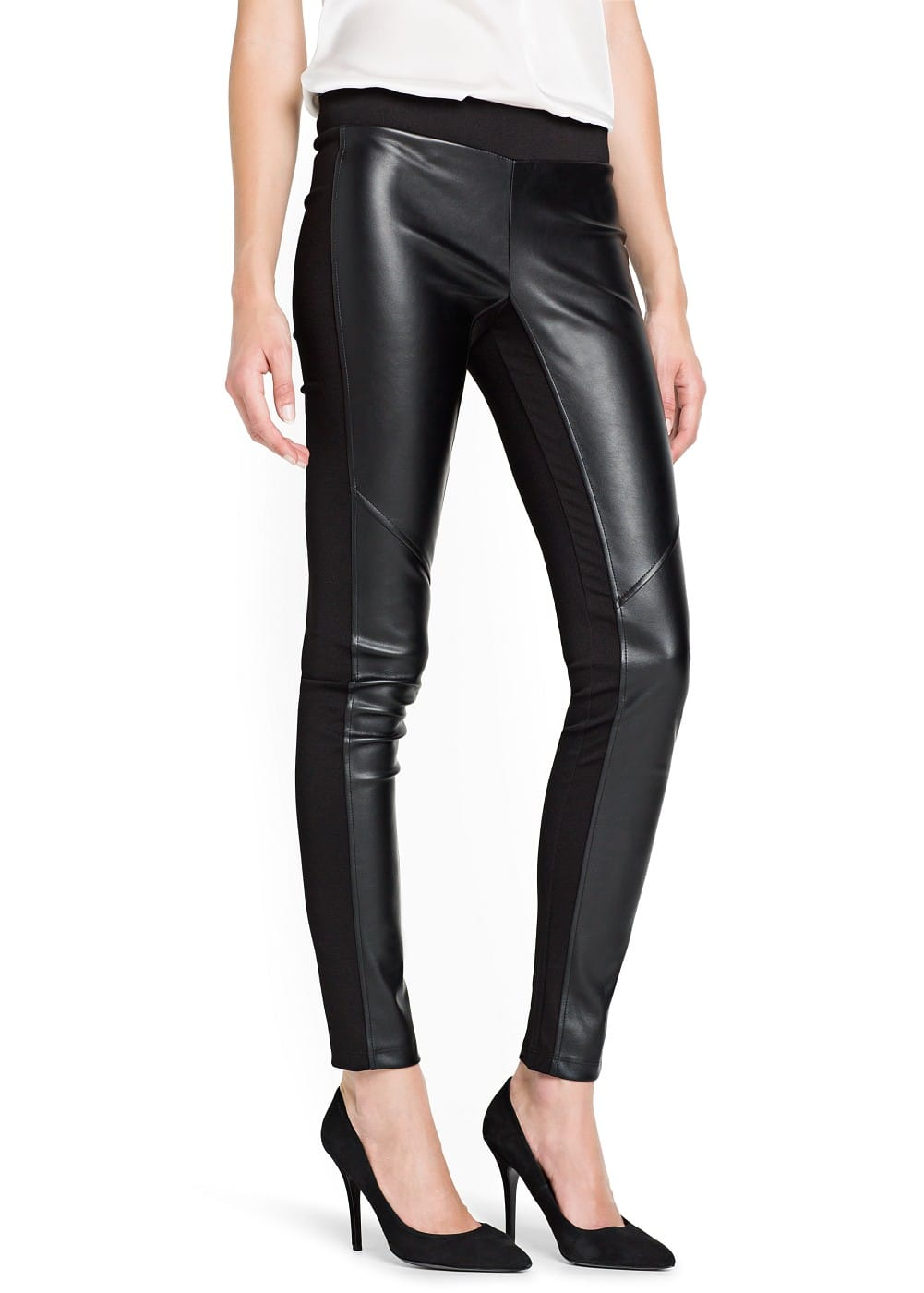 Faux leather appliqué leggings