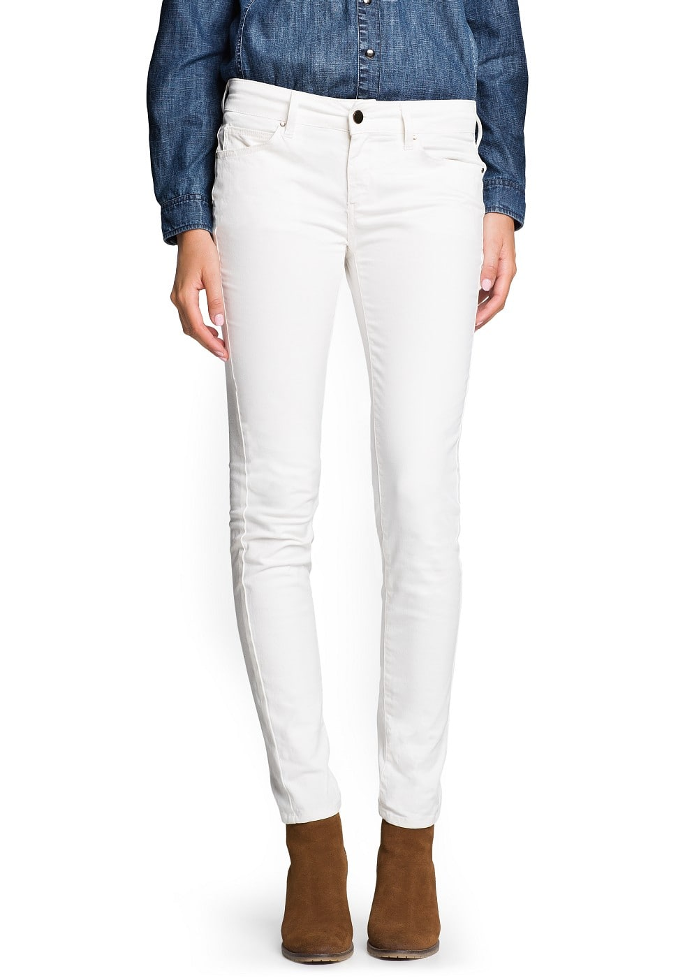 Super slim-fit ecru jeans | MANGO