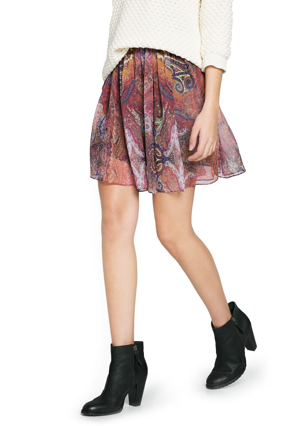 Scarf print pleated skirt | MANGO